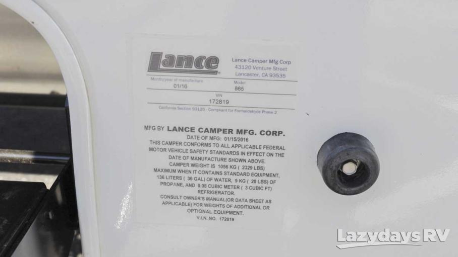 2016 Lance Lance Shortbed 865