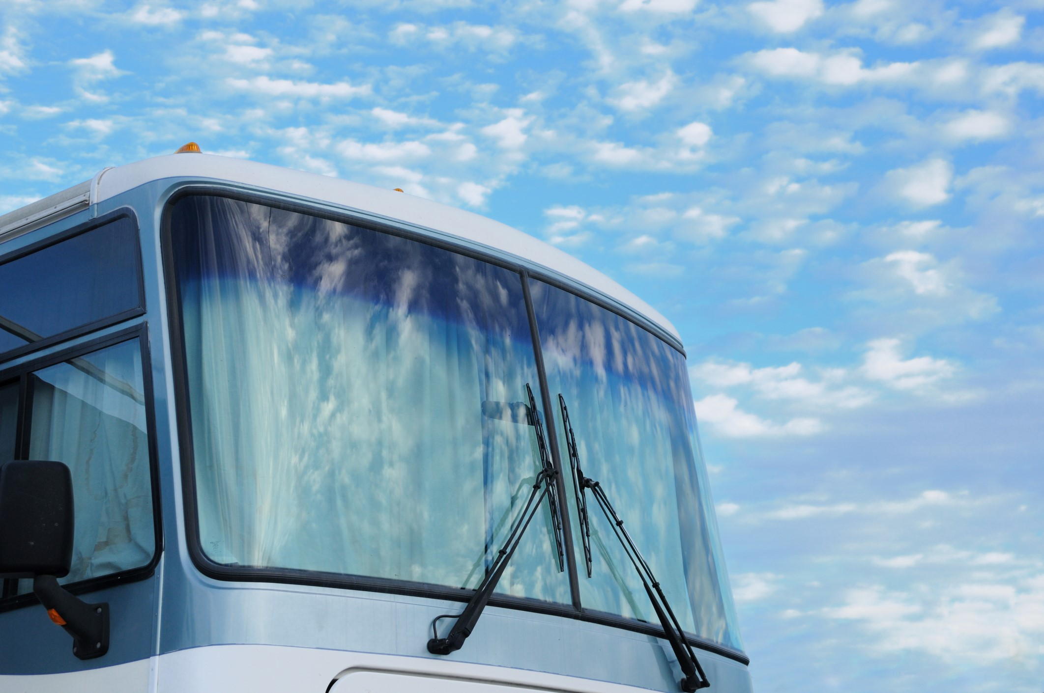 Close shot of a Class A RV windshield