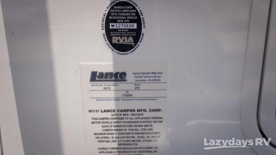 2016 Lance Lance Longbed 975
