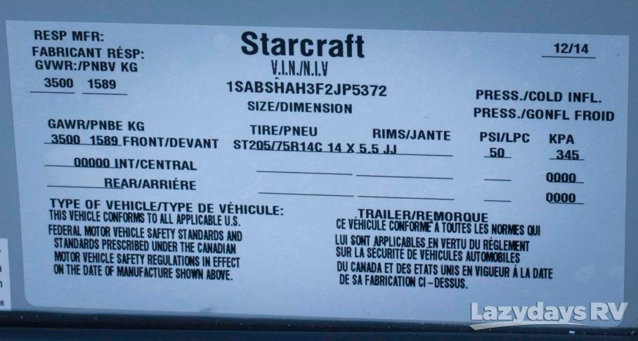 2015 Starcraft Launch 16RB