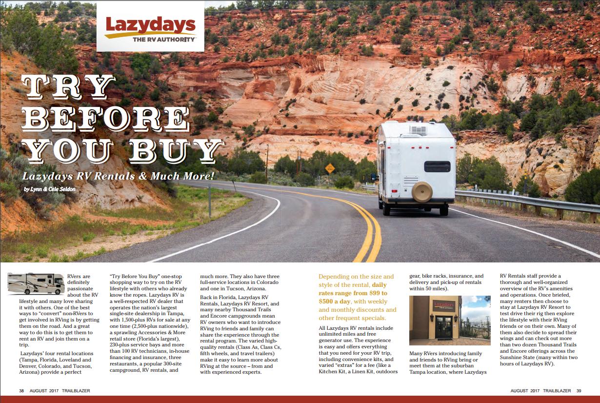 Lazydays RV Rentals Featured in Trailblazer Magazine