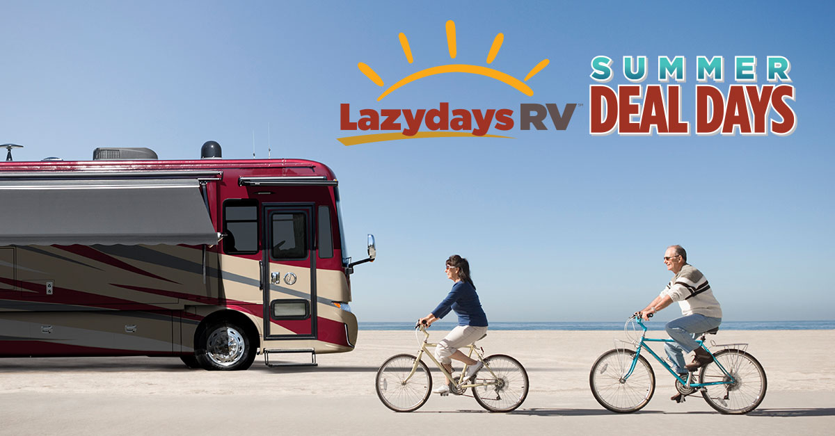Summer Deal Days Lazydays Class A RV Motorhome man woman bicycles